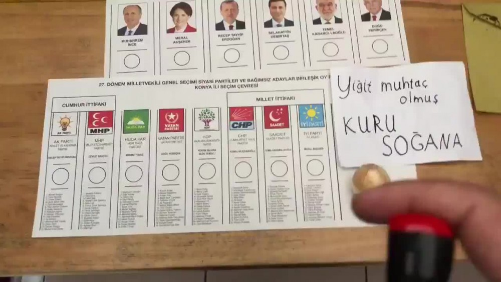 Oy kullanma kabinine soğanla girdi...